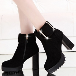 Shoespie Gaint Buckle Platform Ankle Boots
