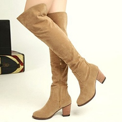 Shoespie Suede-like Chunky Low Heel Knee High Boots