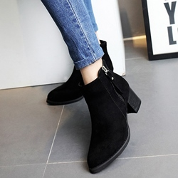 Shoespie Nubuck Zipper Flat Boots