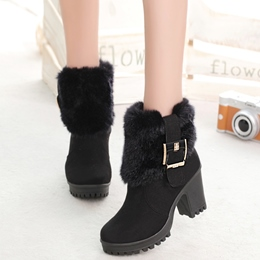 Shoespie Round Toe Lug Sole Ankle Boots