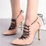 Shoespie Solid Color Pointed Toe Lace Up Stiletto Heels