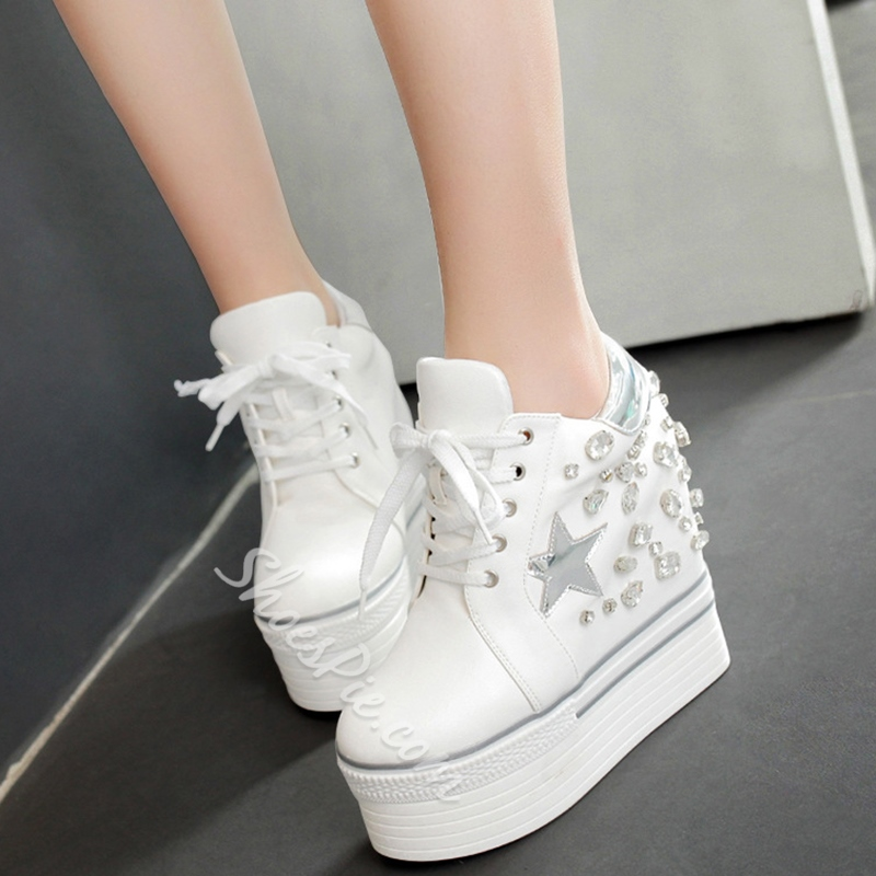 Shoespie Stars and Rhinestones Platform Sneakers