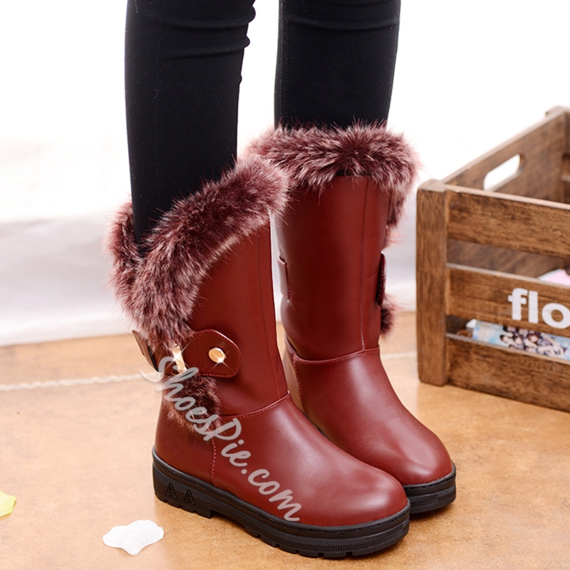 Shoespie Round Toe Shearling Flat Snow Boots