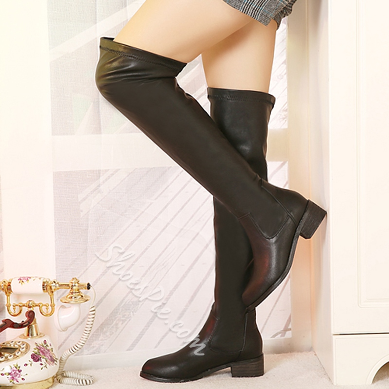 Shoespie Black Round Toe Patchwork Knee High Boots
