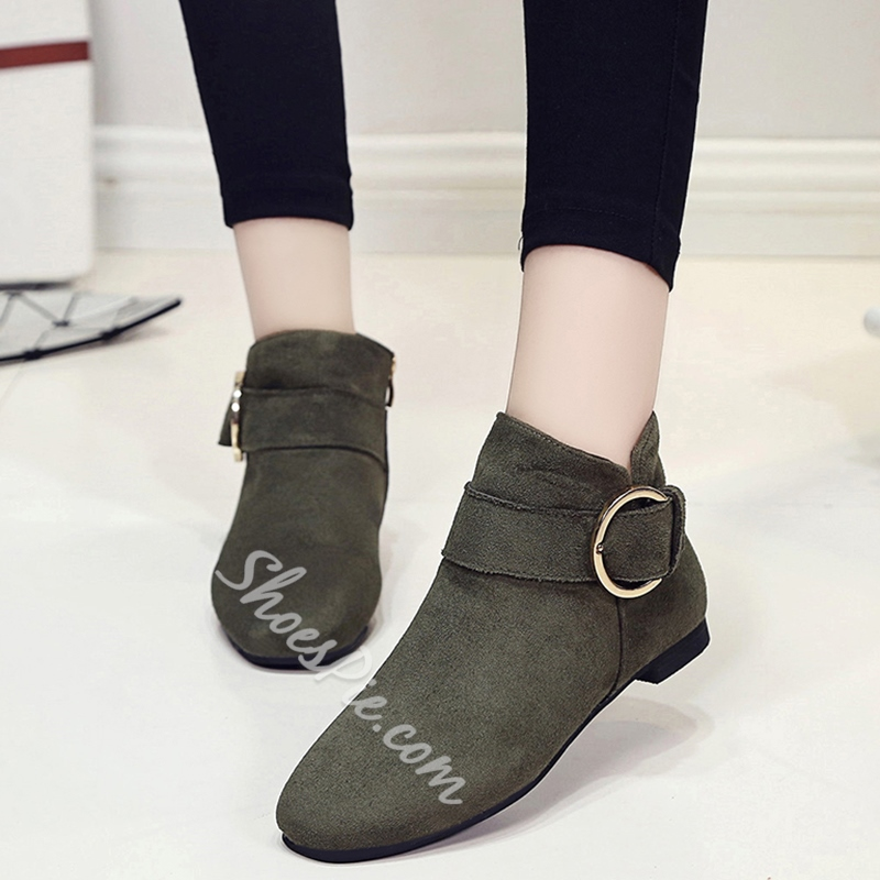 Shoespie Ankle Buckle Round Toe Flat Boots