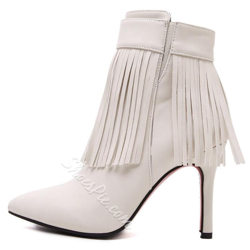 Shoespie Tassels Pointed Toe Ankle Boots