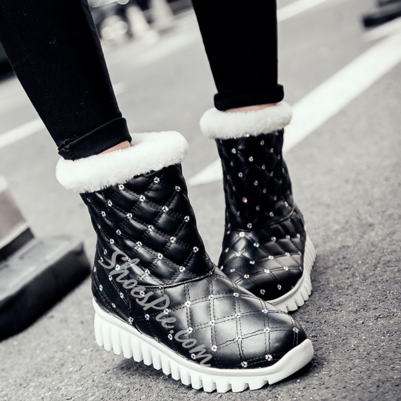 Shoespie Plaid Sequine Snow Boots