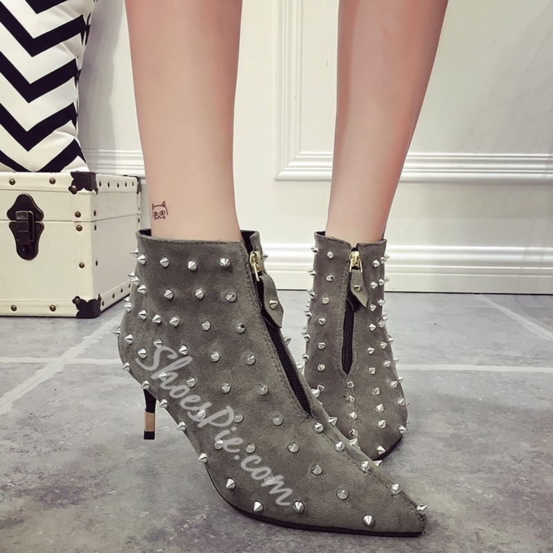 Shoespie Rivets Zipper Front Pointed Toe Ankle Boots