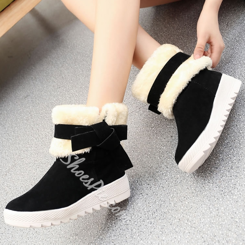 Shoespie Knot Appliqued Lug Sole Snow Boots