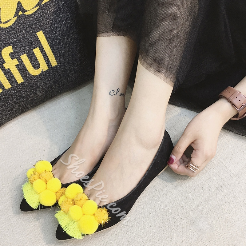 Shoespie Floral Pompom Accented Loafers