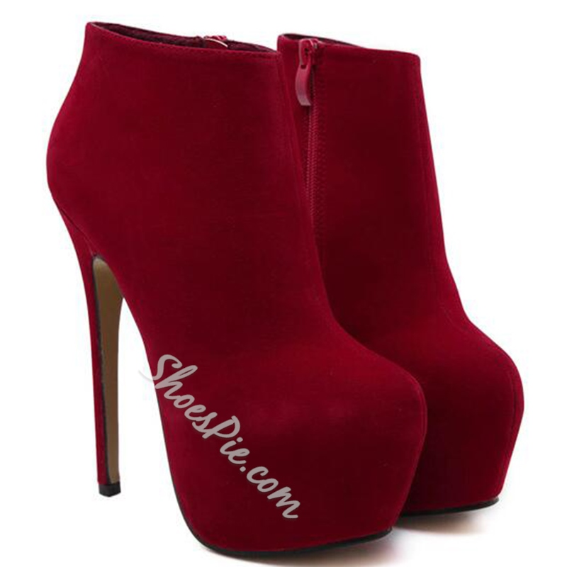 Shoespie Solid Color Platform High Heel Ankle Boots