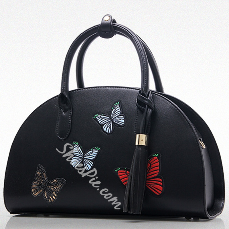 Shoespie Half Moon Butterfly Print Handbag