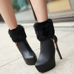 Shoespie Side Zipper Furry Platform High Heel Booties