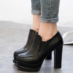 Shoespie Round Toe Plain Chunky Heel Ankle Boots