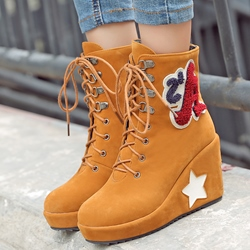 Shoespie Letter Print Wedge Heel Ankle Boots