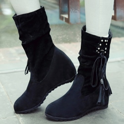 Shoespie Lace Up Mid Calf Flat Boots