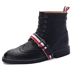 Shoespie Colorful Stripes Buckles Men's Boots