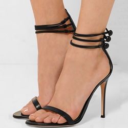 Shoespie Black Narrow Strappy Sandals