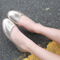 Shoespie Sequine Round Toe Loafers