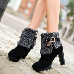 Shoespie Warm Furry Patchwork Ankle Boots