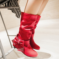 Shoespie Sweet Bow Round Toe Flat Boots