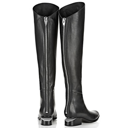 Shoespie Black Pointed Toe Knee High Boots
