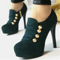 Shoespie Green Button Loop Platform Fashion Booties