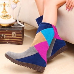 Shoespie Color Block Slip On Snow Boots