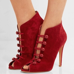 Shoespie Red Button Loop Peep Toe Stiletto Heel Fashion Booties