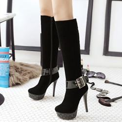 Shoespie Ankle Gaint Buckle High Heel Boots