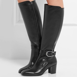 Shoespie Round Toe Chunky Heel Knee High Boots