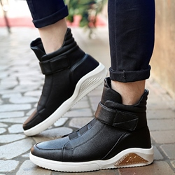 Shoespie Round Toe Velcro High Upper Men's Sneakers