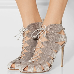 Shoespie Gray Snake Pattern Stiletto Heels