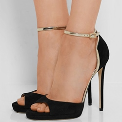 Shoespie Black Purfled Dress Sandals