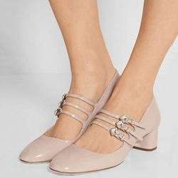 Shoespie Light Apricot Double Buckle Mary Jane Low Heels