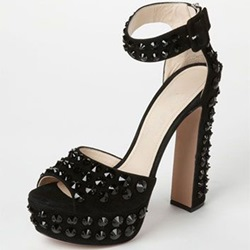 Shoespie Black Suede Rivets Platform Sandals