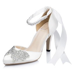 Shoespie Butterfly Rhinestone Ankle Wrap Ribbon Bridal Shoes