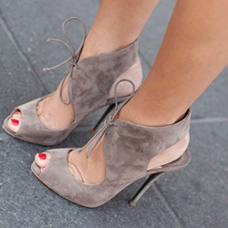 Shoespie Light Coffee Suede Lace Up Sandals