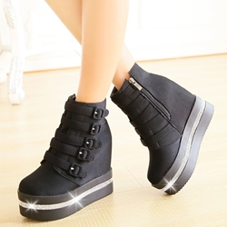 Shoespie Solid Color Buckle Hidden Elevator Heel Booties