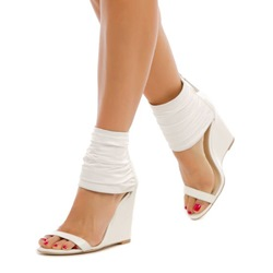 Shoespie White Ankle Wrap Wedge Sandals
