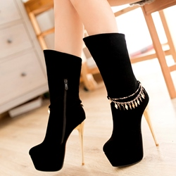 Shoespie Ankle Embellished Platform High Heel Booties