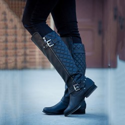 Shoespie Plaid Zipper Wide Calf Flat Boots