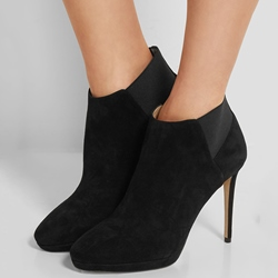 Shoespie Black Solid Color Stiletto Heel Ankle Boots
