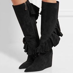 Shoespie Black Falbala Wedge Heel Knee High Boots