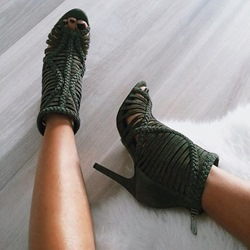 Shoespie Green Back Zipped Braided Sandals