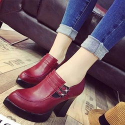 Shoespie Pointed Toe Chunky Heel Ankle Boots