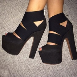 Shoespie Black Back Zipper Platform Sandals