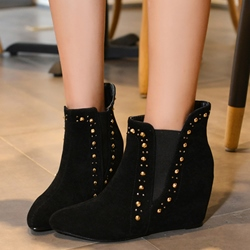 Shoespie Rivets Hidden Elevator Heel Ankle Boots