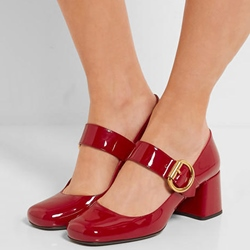 Shoespie Red Mary Jane Low Heels
