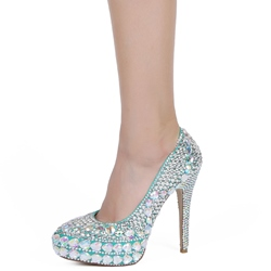 Shoespie All Blue Rhinestone Platform Bridal Shoes